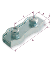 Flat wire rope clip 2 galvanized bolts - Gattegno