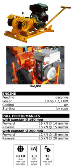 Mechanical winch for laying underground cable - OMAC - F44 15